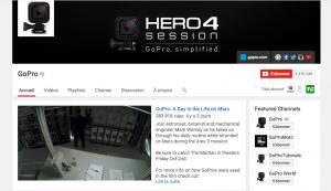 La chaîne YouTube de GoPro qui compte plus de 3 millions d'abonnés.
